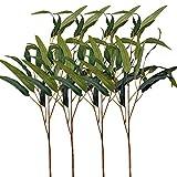 Aisamco Paquete de 4 Hojas de eucalipto Falso Rocíe con 3 Tallos Ramas de eucalipto Artificial Plantas Verdes Artificiales Tallos en Verde Gris para el arreglo Floral del Banquete de Boda del Verde
