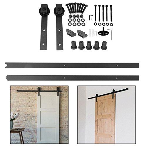 Homgrace 6.6FT-200cm Puerta de Corredera de Madera, Accesorios para Puerta Deslizante para Baño, Dormitorio, Balcón, Cocina y Otras Puertas Correderas