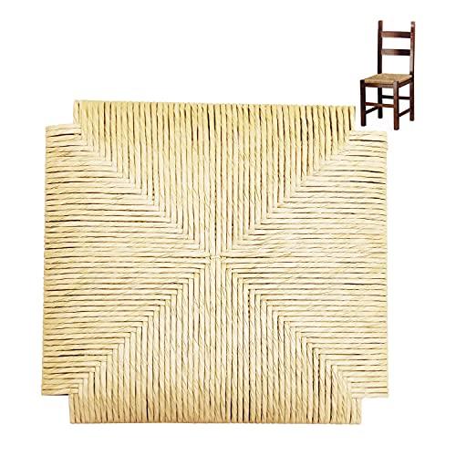 Seduta di Ricambio Impagliata per Sedie, FACILCASA, Fondo di Ricambio Robusto   con Vera Paglia Palustre   Sostituzione Facile, Economica, con Esclusivo Manuale Istruzioni (cm. 41x41x3) 2 pezzi A03