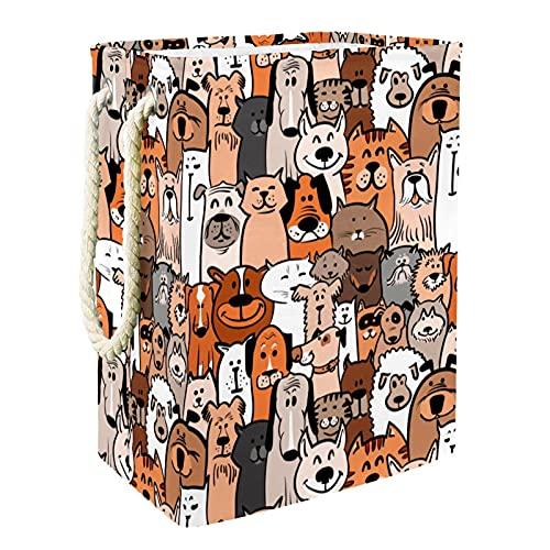 Cesto de la ropa Gato y perro Cesta de Almacenamiento Plegable Organizador Cestas de Ropa Baño para Bebés Toallas Manta Cesto de Guardería con Asa 49x30x40.5 cm