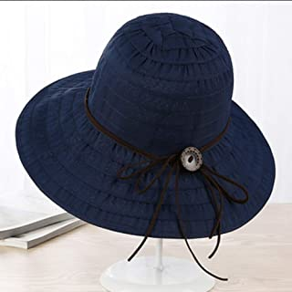 ZRL77y Ladies Bucket Hat Summer,Summer Sun Beach Straw Hat Floppy Foldable Wide BrimGardening Hiking Hat, Women Summer Sun Straw Hat (Color : Blue)