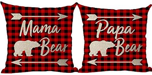 Mesllings Juego de 2 fundas de almohada decorativas con diseño de árbol de pino y acuarela de Feliz Navidad para el Año Nuevo, color rojo, para camioneta, camión, camión, pino y árboles, para el hogar, sala de estar, cama, sofá, coche, de algodón y lino, cuadradas, 18 x 18 pulgadas