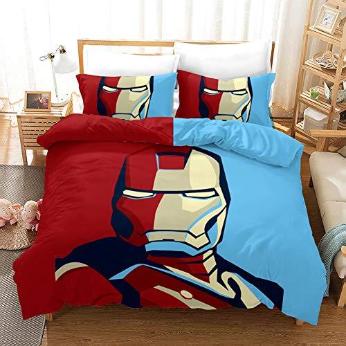 Yomoco - Juego de ropa de cama de Los Vengadores, funda de edredón y funda de almohada, microfibra, impresión digital 3D, juego de cama de tres piezas, Iron Man., Single 135x200cm