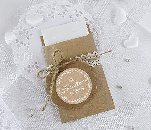 Freuden Tränen Taschentücher Set zur Hochzeit Groß 48 Sticker + 48 braune Flachbeutel - Kraftpapier - 63 x 93 mm für Freudentränen Taschentuch Verpackungen Aufkleber in NATUR Kraftpapier Look