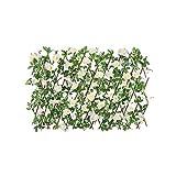 TCross - Recinzione telescopica da giardino, siepi in legno, foglie di fiori artificiali in fiore di ciliegio, decorazione per matrimoni, griglia di privacy espansa (colore C)