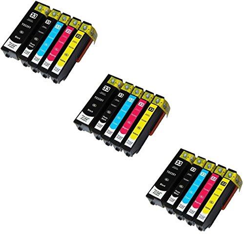 15 Tintenpatronen kompatibel zu Epson 33XL für Epson Expression Premium XP-530 XP-630 XP-635 XP-640 XP-830 XP-900 XP-540 XP-645 - Schwarz/Foto Schwarz/Cyan/Magenta/Gelb, hohe Kapazität