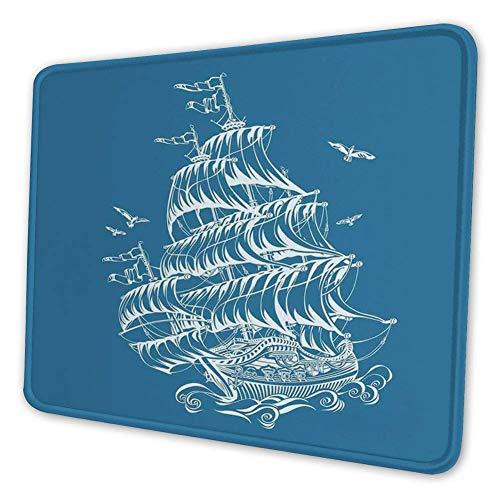 Rechthoekige Mousemat Mousepad, artistieke schets van een fregat antieke zeilschip op golven vliegende vogels