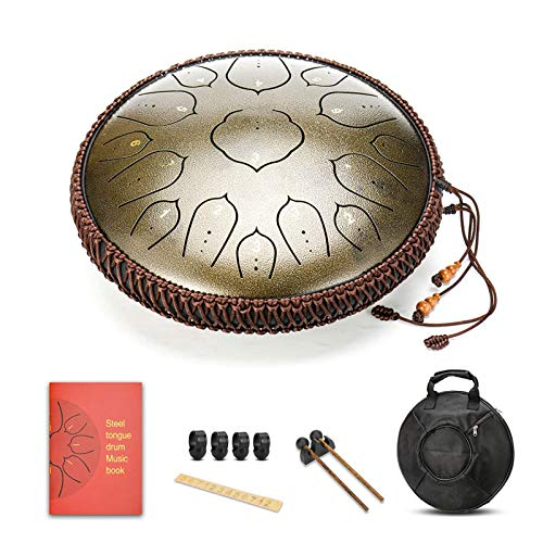 Zungentrommel 14 Zoll, 15 Notes Hang Drum Handpan Drum Sets Percussion Instrument,Mit Tasche Musikbuch Mallets Fingerpicks,für Meditation Yoga Klangheilung