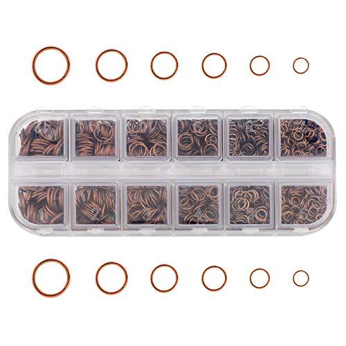 LUTER 1300 piezas anillo de salto abierto cobre rojo anillo de salto para pulsera de joyería conector de manualidades de reparación tamaños mixtos pendiente de bricolaje collar colgante(4-10mm)
