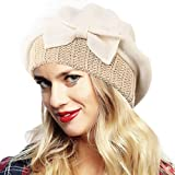 Ruphedy Damen Barett Wintermütze Wolle Beanie Mütze Baskenmütze Hy022 (Sahne)