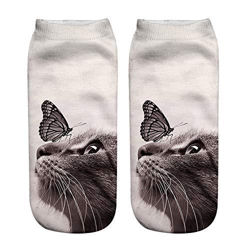 Kuschelsocken Damen 3D Gedruckt Katze Stoppersocken Hausschuhe Socken Mit Tiermotiv Anti Rutsch Socken Damen Pantoffeln Größe Socken Sneakersocken Sportsocken fiosoji