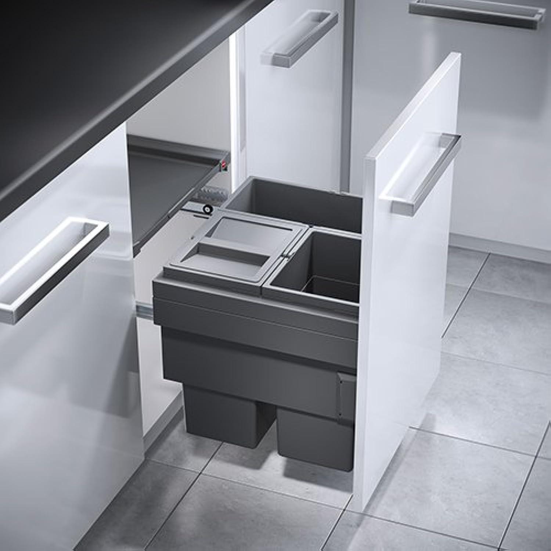 Hailo Cargo Synchro Küchen-Abfalleimer, Metall, Grau, One Größe