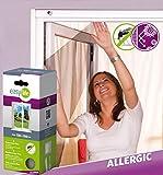 easy life Pollenschutz Vlies 130 x 150 cm in Weiß mit Klettband Pollenschutzvlies Pollenschutzgitter für Fenster