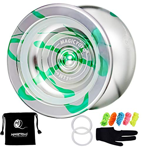 MAGICYOYO N11 Alloy Aluminum Professional Yoyo Unresponsive YoYo Ball with Bag, Glove and 5 Strings (Silver Green)