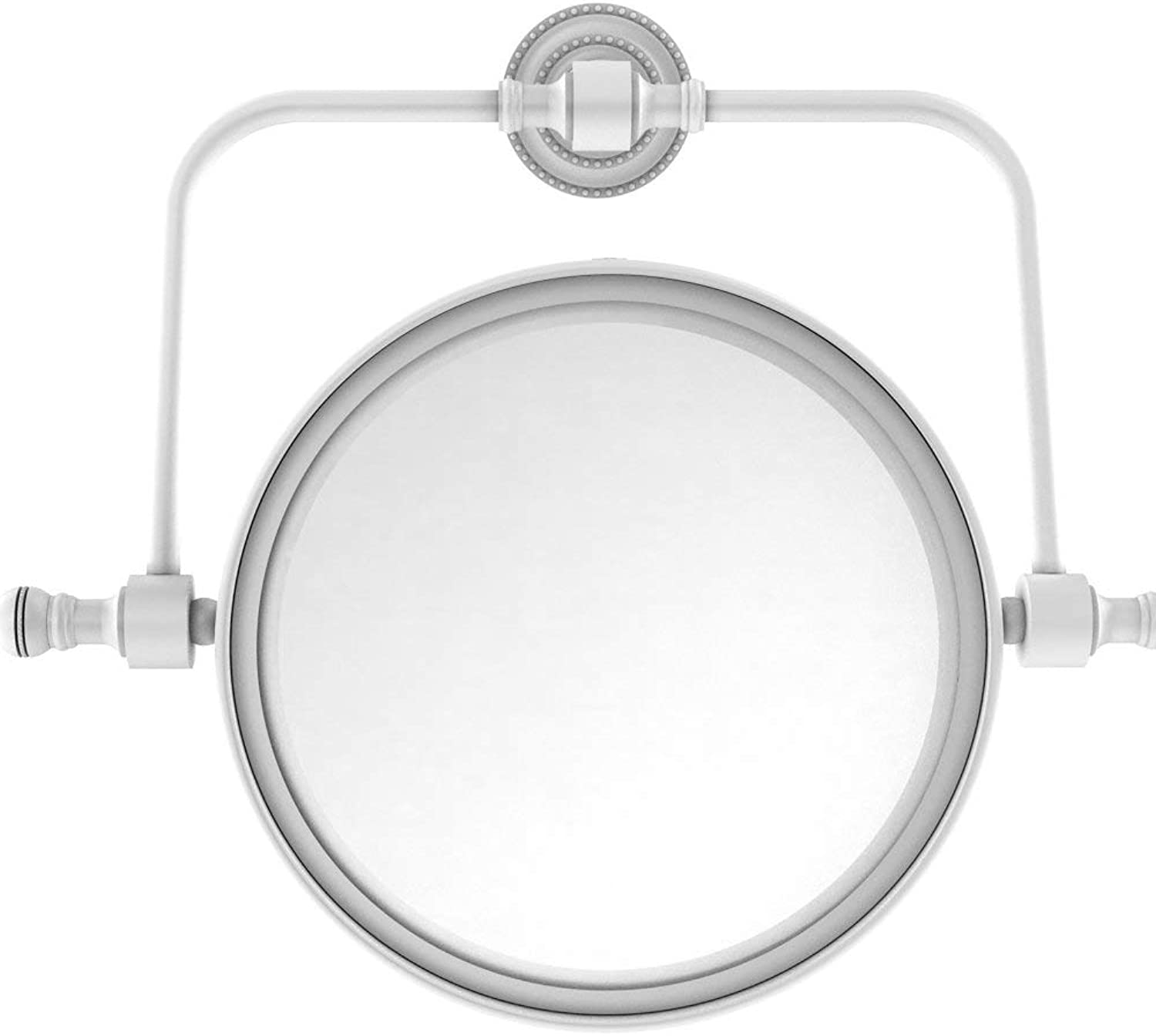 Allied Brass Retro Dot Collection Wall Mounted Swivel Make-Up Mirror 8 Inch Diameter with 4X Magnification, RDM-4 4X-WHM
