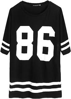 JAGENIE - Camiseta de béisbol para Mujer, Manga Corta, Talla Grande