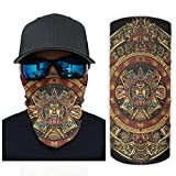 Ancient Aztec Sun Totem Mayan Folklore Print Bandana Face Mask Sun Protection Rave Face Mask white2 OneSize