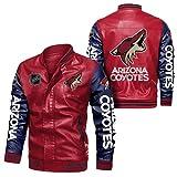JesUsAvila Imitación cuero del bombardero chaqueta rompevientos Coyotes Racing tapa de la chaqueta de la locomotora de moda chaqueta de cuero de los hombres de Chaqueta/D/M