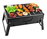 SunJas Barbecue a Carbonella Portatile,Barbecue a Carbone in Acciaio Inossidabile,BBQ Gril...