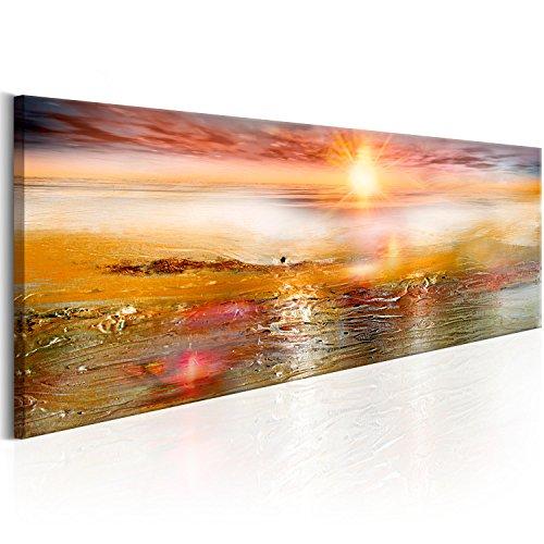 murando - Bilder 150x50 cm Vlies Leinwandbild 1 TLG Kunstdruck modern Wandbilder XXL Wanddekoration Design Wand Bild - Landschaft wie gemalt Abstrakt Meer Sonne c-A-0111-b-c