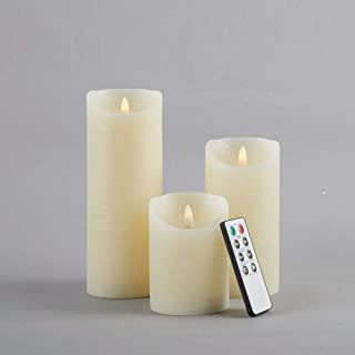 """glowiu Flameless Candles 3D Wick Flickering Set of 3(H 4"""" 6"""" 8"""" x D3) 8-Key Remote Multi-Function Rustic Finish (Ivory)"""