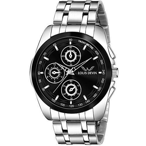 Louis Devin LD-GR036-BLK Metal Chain Analog Wrist Watch for Men