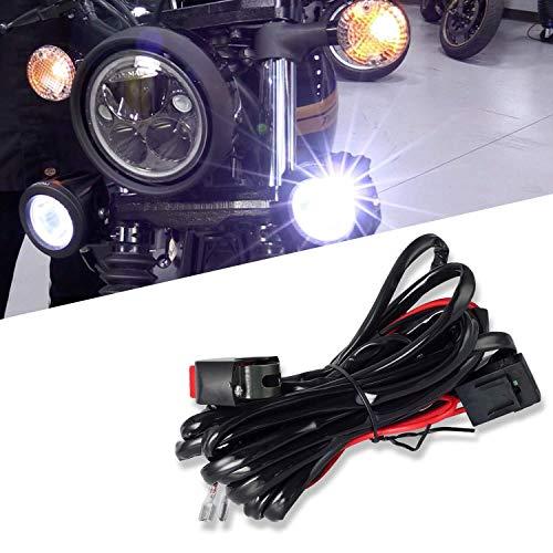 Preisvergleich Produktbild Universal-LED Kabelbaum Schalter Relais Set mit 2 LED-Anschlüsse Motorradfahrscheinwerferlichter Hilfsarbeitsscheinwerfer
