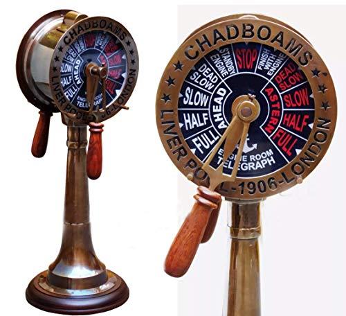 Telégrafo de latón antiguo de 45,72 cm, diseño de motor d