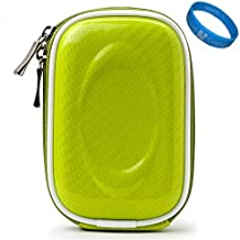Green Candy Compact Semi Hard Protective Camera Case for Sony Cyber Shot DSC T99, DSC WX5, DSC TX9, DSC TX5, DSC TX7, DSC W330, DSC W350, DSC W310, DSC W380 Point and Shoot Cameras and Wristband