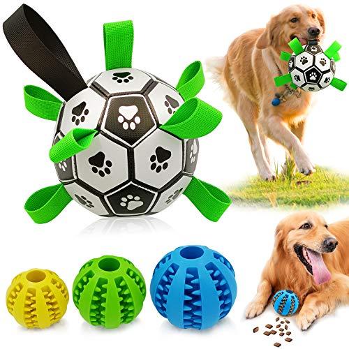 CFinke Hundefußball mit Haltegriffen Hundespielzeug interaktives Indoor-Outdoor-Hundespielzeug Hundespielball für Große & Kleine Hunde - Kauspielzeug aus Naturgummi für Leckerli