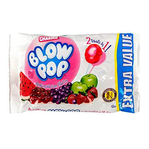 Charms 1 Bag Blow Pop Bubble Gum Filled Pops  2 Treats in 1 Assorted Flavors Lollipop Halloween Candy  Peanut amp Gluten Free  Net Wt 455 oz