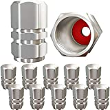 Tire Valve Caps (12 Pack) Heavy-Duty Stem Covers | Dust Proof, with O Rubber Seal | Hexagon Design | Outdoor, All-Weather, Leak-Proof Air Protection | Light-Weight Universal Aluminum Alloy ( Silver )