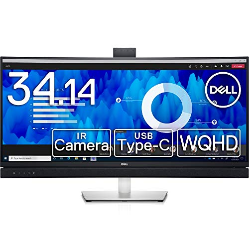 Dell C3422WE 34.14インチ 曲面 ビデオカンファレンスモニター (3年間無輝点交換保証/WQHD/IPS非光沢,3800R曲面/USB-C,DP,HDMI/sRGB 99%/高さ,傾き調整/LANポート(RJ45)/ドック機能搭載/マイク,スピーカー付)