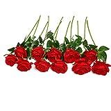 JUSTOYOU Rose Artificielle Fleurs De Soie Bouquet Home Office Arrangements De Mariage Rouge (10 PCS)