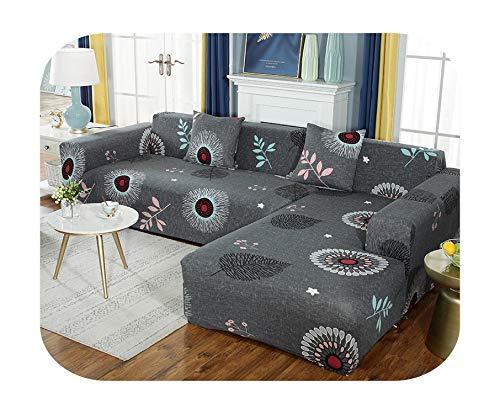 Lucylili - Funda de sofá universal de poliéster con diseño floral para bancos elásticos de muebles para Navidad, sala de estar