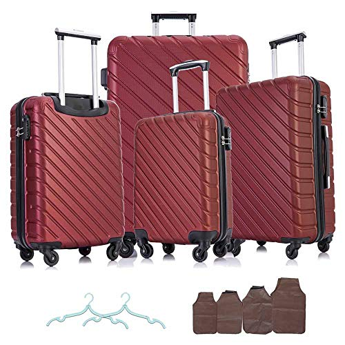 Apelila 4 Piece Hardshell Luggage Sets ,Travel Suitcase,Carry On Luggage with Spinner Wheels Free Cover&Hanger Inside (Wine)
