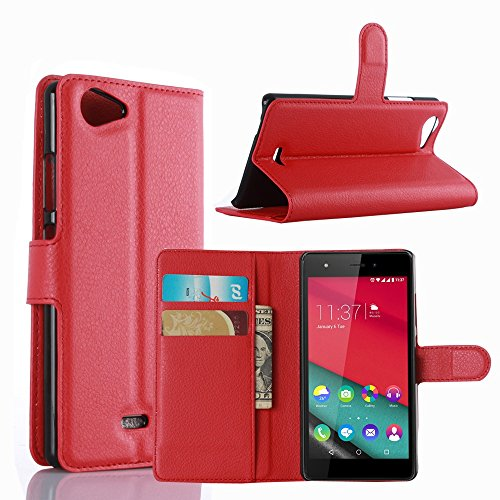 Ycloud Tasche für Wiko Pulp (5.0zoll) Hülle, PU Ledertasche Flip Cover Wallet Hülle Handyhülle mit Stand Function Credit Card Slots Bookstyle Purse Design rote