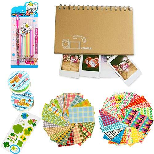 Jinshen Kit d'accessoires de décoration de film pour appareil photo avec album photo, rubans à motif dentelle, recharges de stylo gel pailleté, autocollants photo pour Polaroid Fuji Instax (Oiseau)
