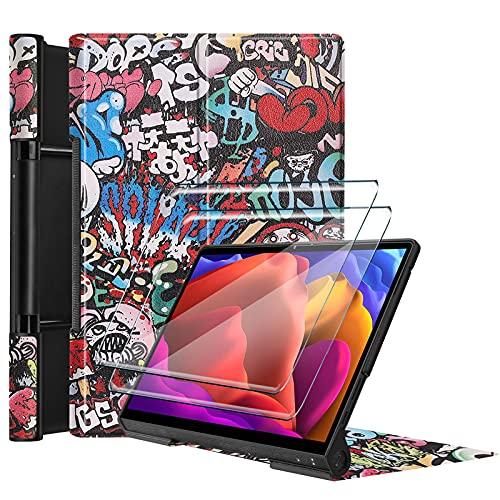 Tasch HYMY Funda para Lenovo Yoga Pad Pro + 2Pcs Vidrio Templado Lenovo Yoga Pad Pro Protectores Pantalla, Protector de Pantalla with Flip Cover Case Carcasa-TY