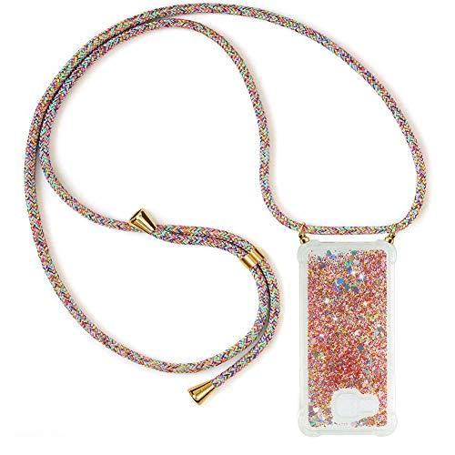 Ptny Handykette kompatibel mit Samsung Galaxy A3 2016 Smartphone Necklace Hülle mit Band, Schnur mit Case zum umhängen Stylische Kordel Kette, Kristallklare Handyhülle zum Umhängen in Regenbogenfarbe