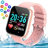 Burxoe Smart Watch, Bluetooth Smartwatch for Android Phones, Ip67 Waterproof Fitness Watch with Blood Pressure Heart Rate Sleep Monitor Pedometer Calorie Compatible for Samsung iOS Women Men