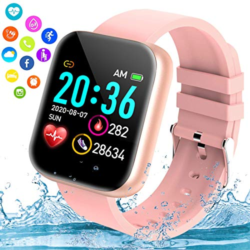 Fswatch Smart Watch,Ip67 Waterproof Bluetooth Smartwatch for Android Phones,Sport Fitness Watch with Blood Pressure Oxygen Heart Rate Monitor Activity Tracker Compatiable for Samsung iOS Women Men