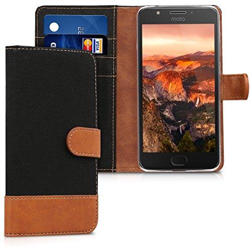 kwmobile Wallet Hülle kompatibel mit Motorola Moto E4 - Hülle mit Ständer - Handyhülle Kartenfächer Schwarz Braun