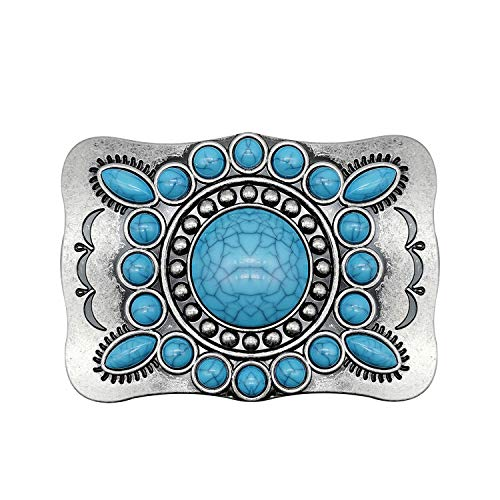 YOQUCOL Western Cowboy Indian Elements Vintage Turquoise Belt Buckle For Men
