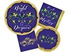 Masquerade Themed Party Supplies | Bundle Includes Paper Plates & Napkins for 16 People | Perfect for New Years Eve, Mardi Gras, Halloween or Costume Party