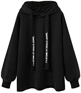 Women's Hoodie Solid Casual Long Sleeve Letter Print Hooded Fashion Sweatshirt Hoodies Hoodie w3qw0a (Color : Black, Size : 5XL)