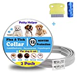 Flea Tick Collar for Dogs Cats(2Pack)-12 Months Continuous Protection(upgraded version)- No allergic & Waterproof & Adjustable Design-100% Natural Essential Oil-Gift Flea Comb&Dog Poop Bags (2 Pack)