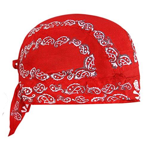 YSXY FakeFace Kopftuch für Damen Herren Bandana Cap Hut Sport Kopfbedeckung Piratenmütze Hip Hop Cap Stirnband aus atmungsaktive Baumwolle(Rot)