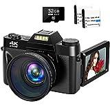 4K Camera Digital Camera 48MP Vlogging Camera with YouTube 30FPS Video Camera Camcorder 16X Digital Zoom Vlog Camera with Flip Screen Camera with 32GB SD Card and 2 Batteries