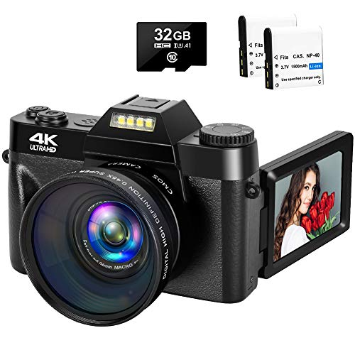 4K Digital Camera 48MP Camera Vlogging Camera with YouTube 30FPS Video Camera Camcorder 16X Digital Zoom Vlog Camera with Flip Screen Camera with 32GB SD Card and 2 Batteries(NO WiFi & Fixed Focus)…